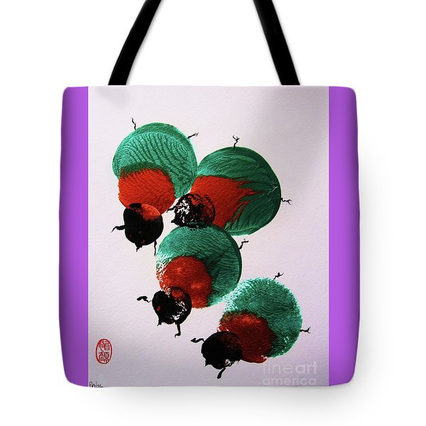 Tote Bag featuring the painting Japanese Beetles by Roberto Prusso