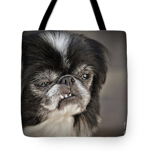 Japanese Chin Doggie Portrait Tote Bag