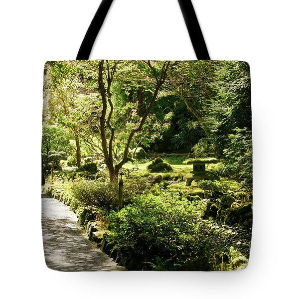 Japanese Garden At Butchart Gardens In Spring Tote Bag by Louise Heusinkveld