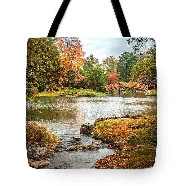 Tote Bag featuring the photograph Japanese Garden Bridge Fall by David Coblitz