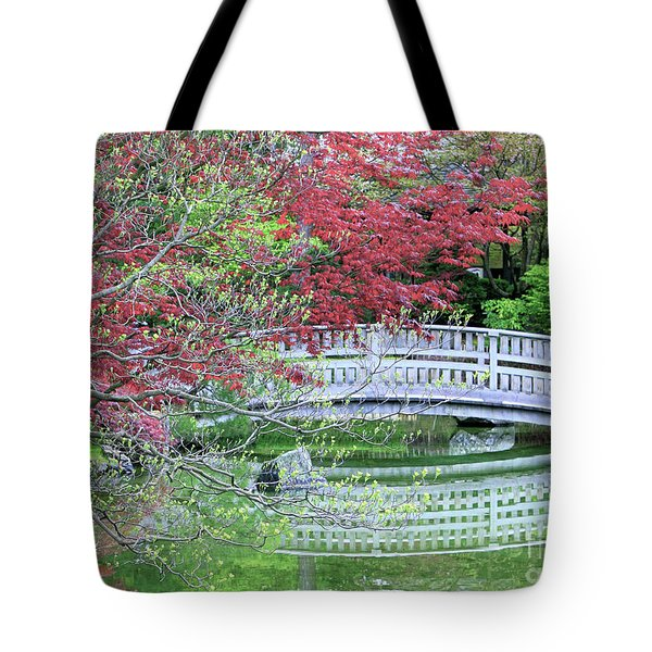 Japanese Garden Bridge In Springtime Tote Bag by Carol Groenen