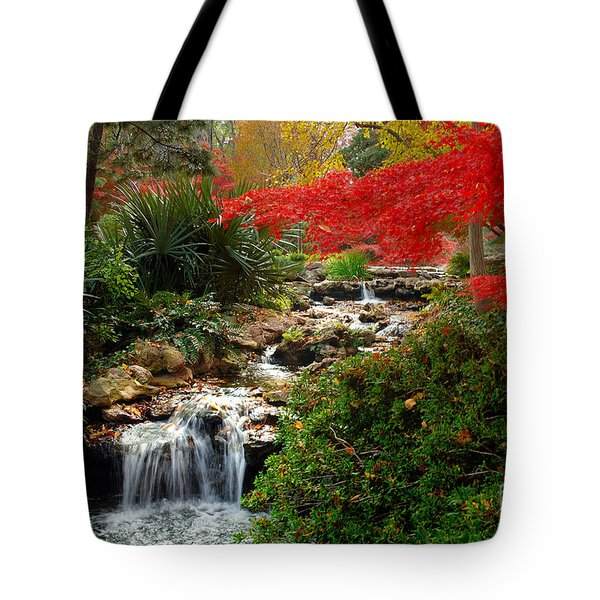 Japanese Garden Brook Tote Bag by Jon Holiday