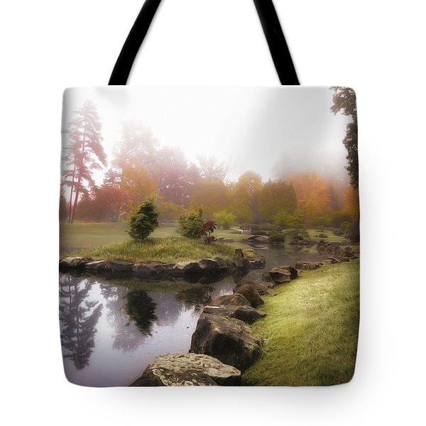Japanese Garden In Early Autumn Fog Tote Bag