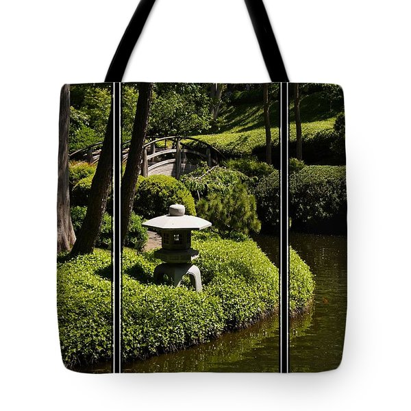 Japanese Garden Triptych Tote Bag by Kathy Churchman
