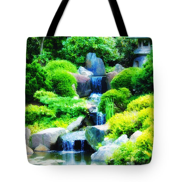 Japanese Garden Waterfall Tote Bag by Bill Cannon