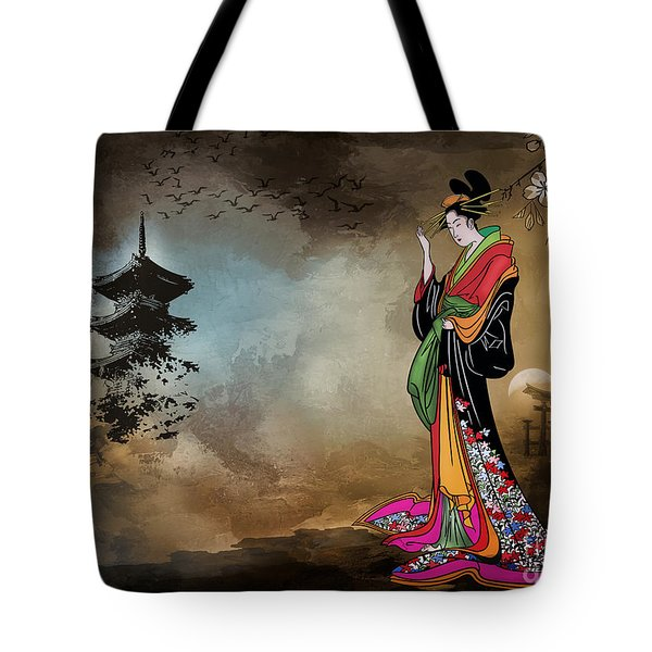 Tote Bag featuring the digital art Japanese Girl With A Landscape In The Background. by Andrzej Szczerski