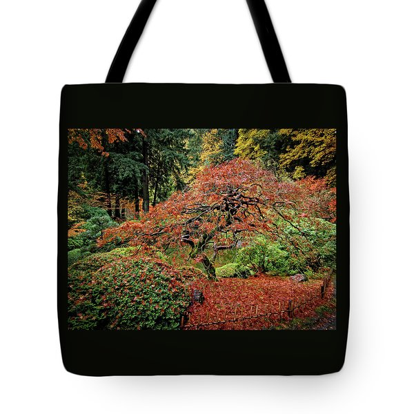 Tote Bag featuring the photograph Japanese Maple At The Japanese Gardens Portland by Thom Zehrfeld