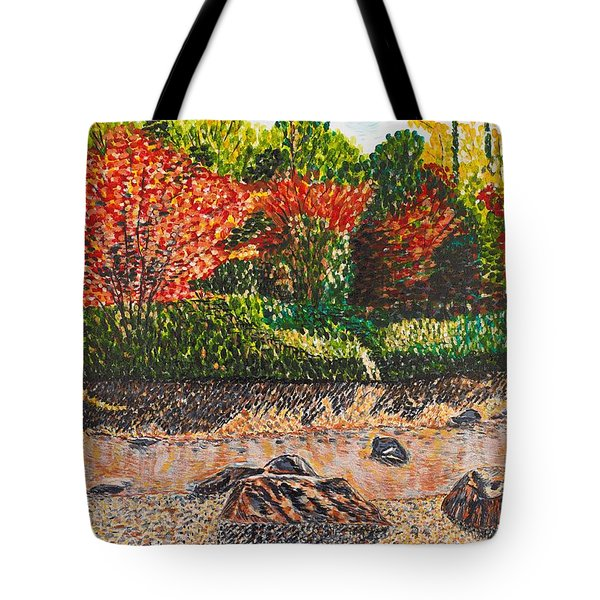 Japanese Maple Trees At The Creek Tote Bag by Valerie Ornstein