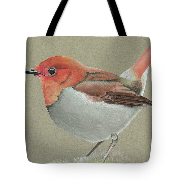 Tote Bag featuring the drawing Japanese Robin by Gary Stamp