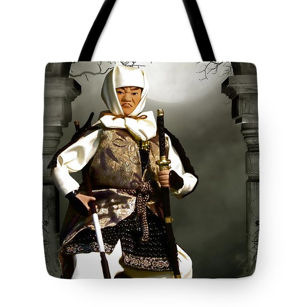 Japanese Samurai Doll Tote Bag by Christine Till