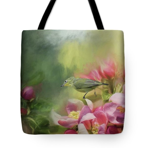 Japanese White-eye On A Blooming Tree Tote Bag