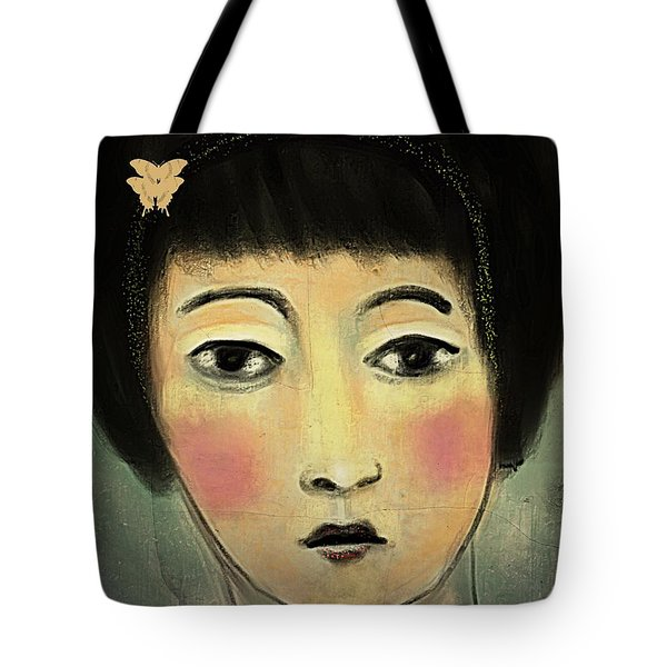 Tote Bag featuring the digital art Japanese Woman With Butterflies by Alexis Rotella