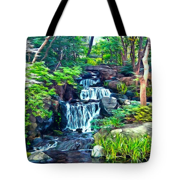 Japanese Waterfall Garden Tote Bag