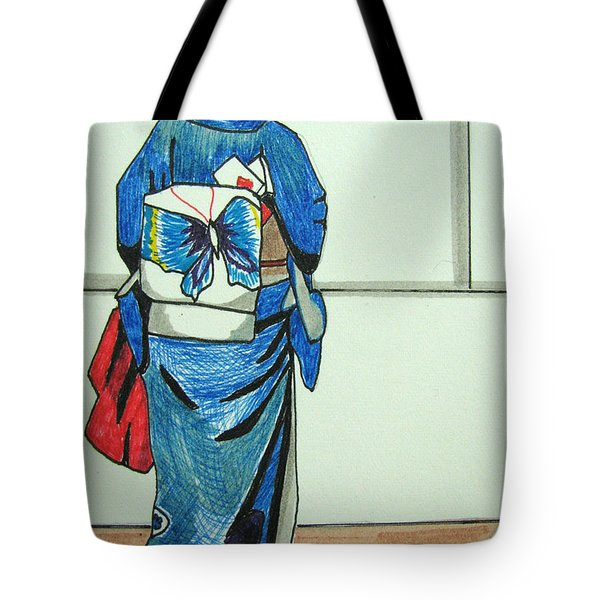 Tote Bag featuring the drawing Japonese Girl by Patricia Arroyo