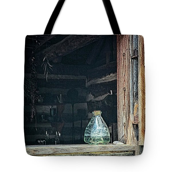 Tote Bag featuring the photograph Jar In Window by Charles McKelroy
