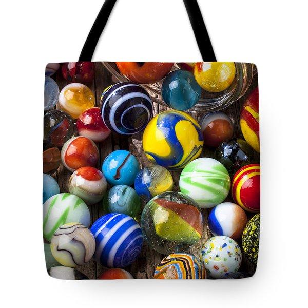 Jar Of Marbles Tote Bag by Garry Gay