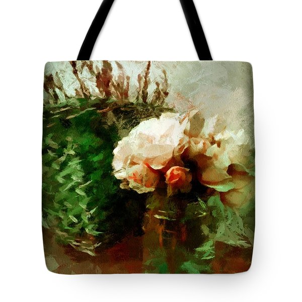 Tote Bag featuring the mixed media Jar Of Roses With Lavender by Patricia Strand