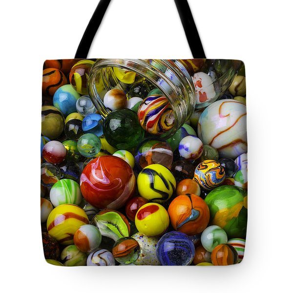 Jar Pouring Out Glass Marbles Tote Bag
