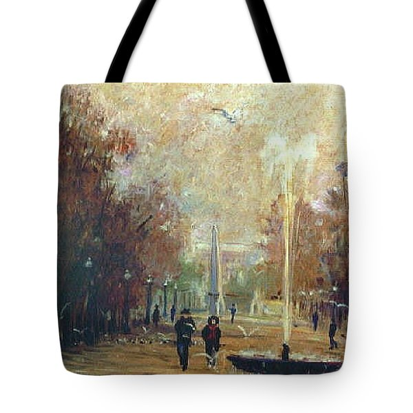 Tote Bag featuring the painting Jardin Des Tuileries by Walter Casaravilla