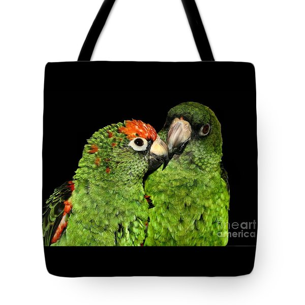 Tote Bag featuring the photograph Jardines Parrots by Debbie Stahre