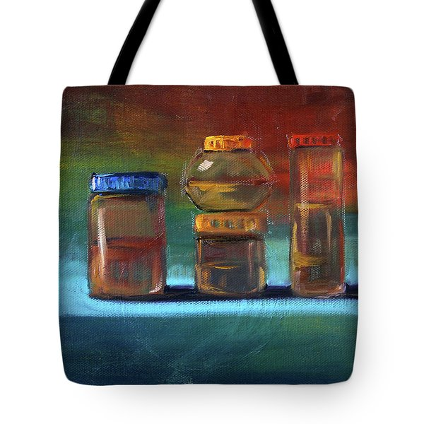 Tote Bag featuring the painting Jars Still Life Painting by Nancy Merkle