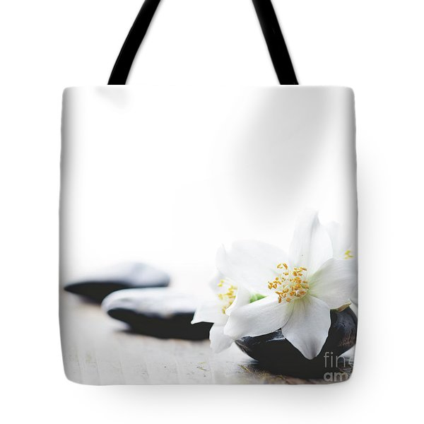 Jasmine Flower On Spa Stones Tote Bag