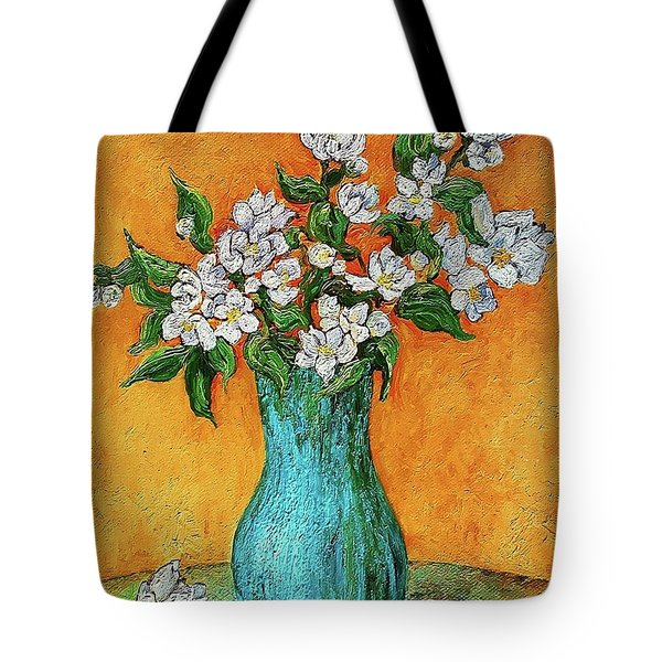 Jasmine Flowers In A Blue Pot Tote Bag
