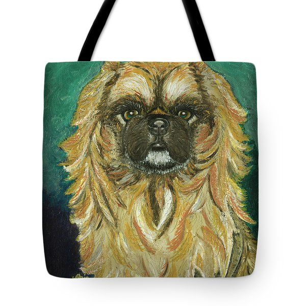 Tote Bag featuring the painting Jasmine The Pekingese Princess by Ania M Milo