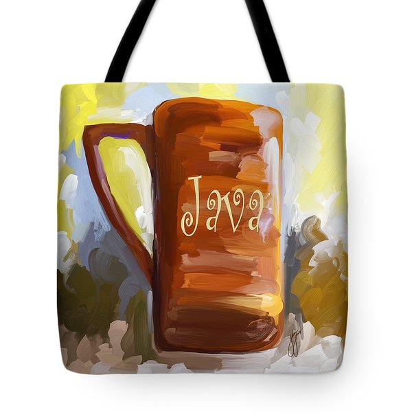 Java Coffee Cup Tote Bag by Jai Johnson