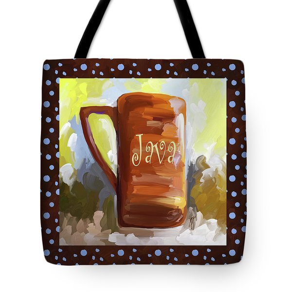 Java Coffee Cup With Blue Dots Tote Bag