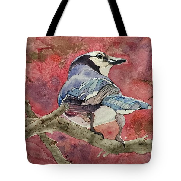 Jay In The Japanese Maple Tote Bag