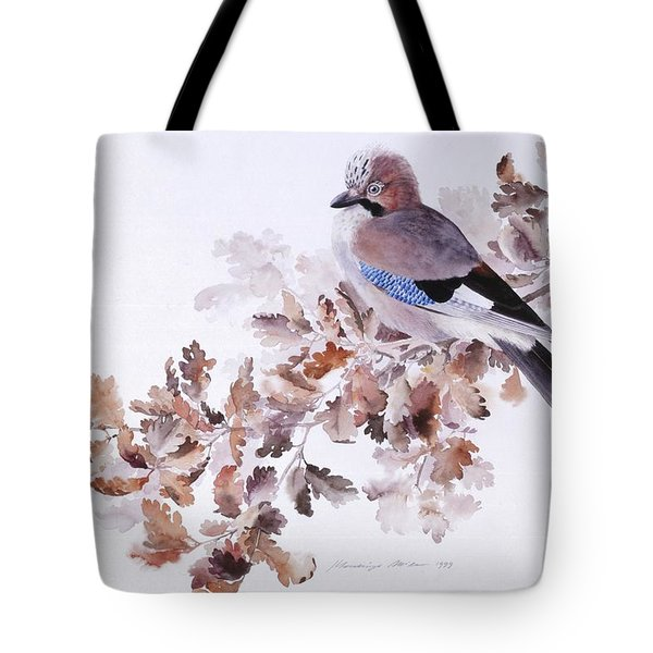 Jay On A Dried Oak Branch Tote Bag