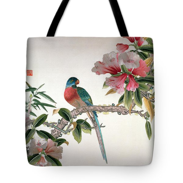 Jay On A Flowering Branch Tote Bag by Chinese School