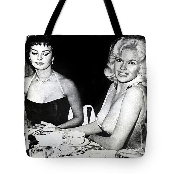 Jayne Mansfield Hollywood  Actress Sophia Loren 1957 Tote Bag
