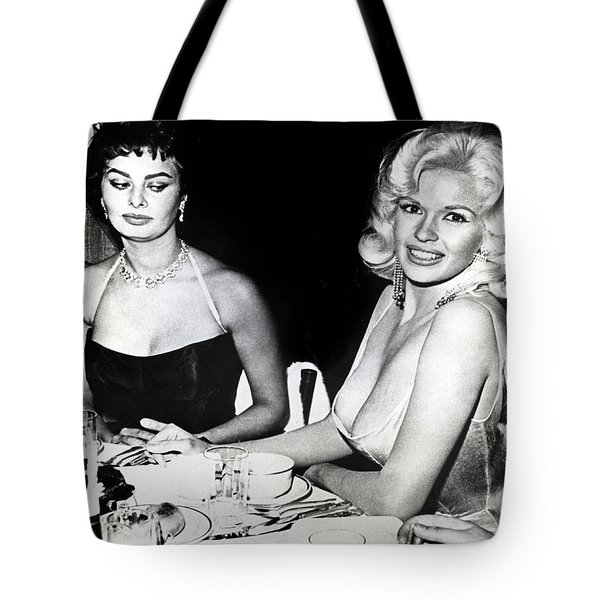 Jayne Mansfield Hollywood  Actress Sophia Loren 1957 Tote Bag