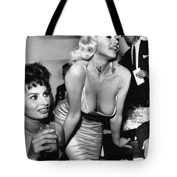 Jayne Mansfield Hollywood Actress And, Italian Actress Sophia Loren 1957 Tote Bag