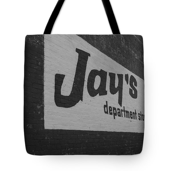 Tote Bag featuring the photograph Jay's Department Store In Bw by Doug Camara