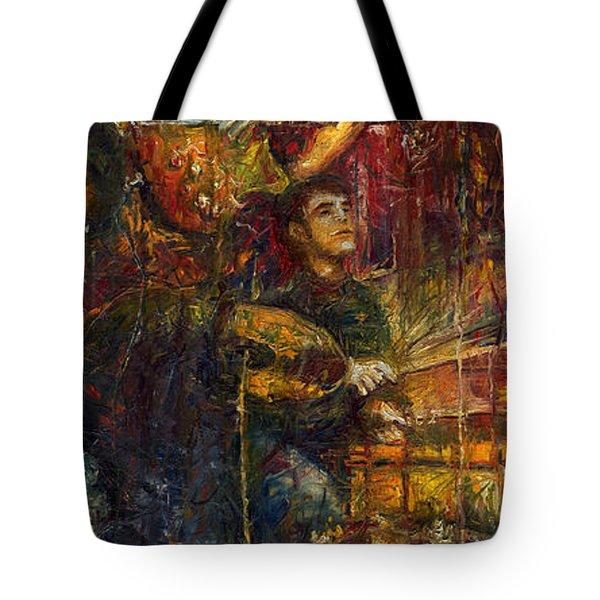 Jazz Bass Guitarist Tote Bag by Yuriy  Shevchuk