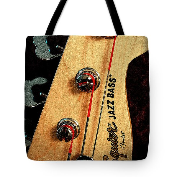 Tote Bag featuring the digital art Jazz Bass Headstock by Todd Blanchard