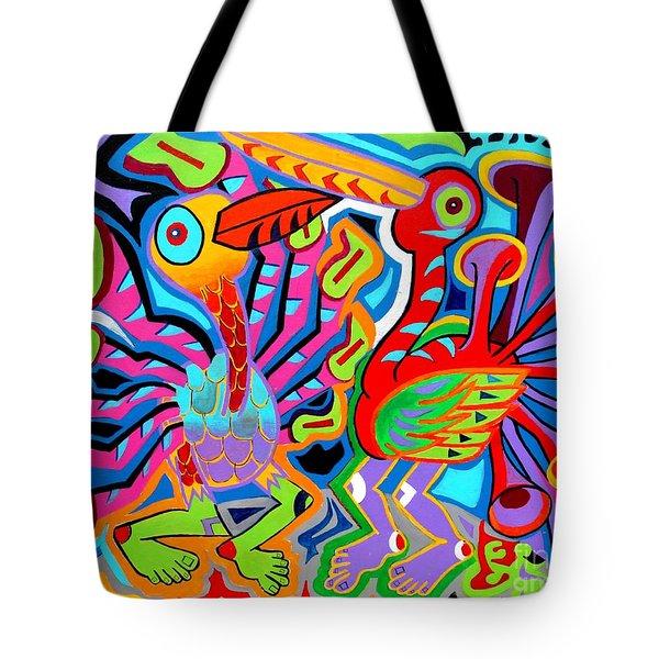Jazz Birds Tote Bag by Ed Tajchman
