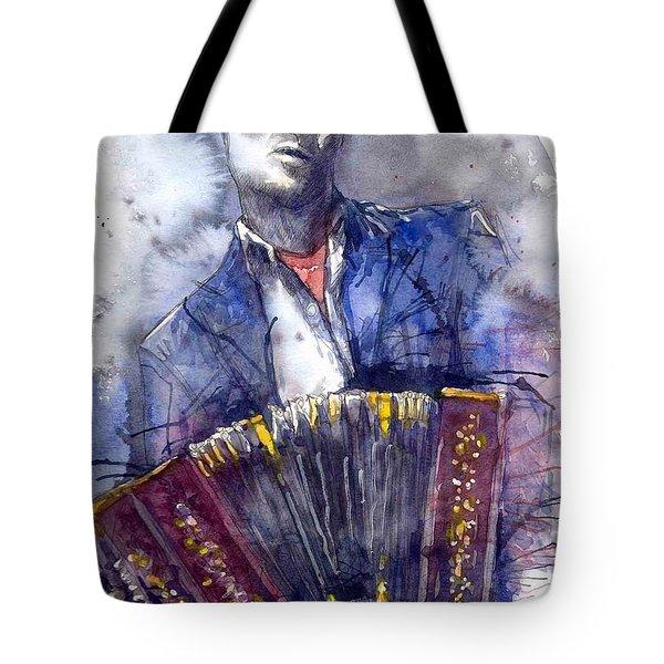 Jazz Concertina Player Tote Bag by Yuriy  Shevchuk