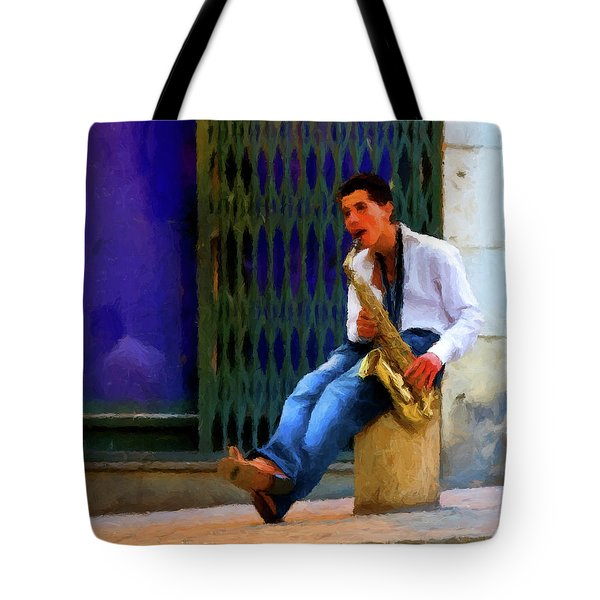 Tote Bag featuring the photograph Jazz In The Street by David Dehner