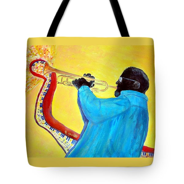 Jazzy Trumpet Player Tote Bag