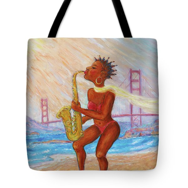 Tote Bag featuring the painting Jazz San Francisco by Xueling Zou