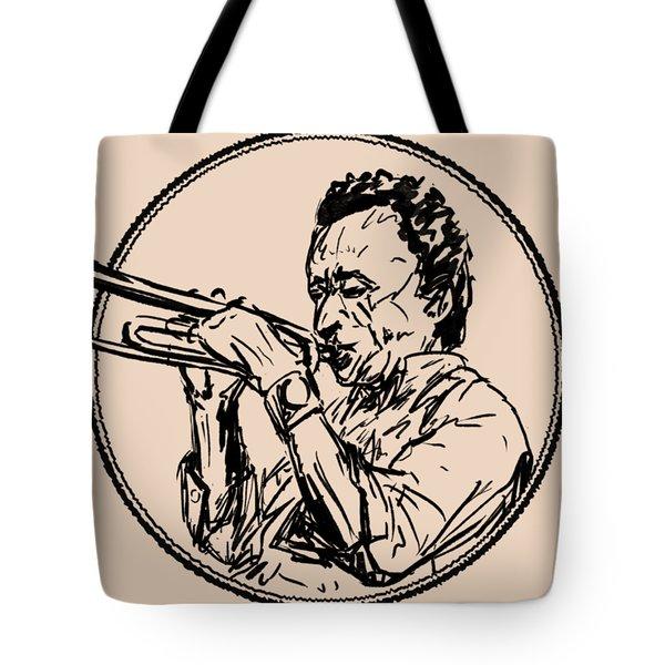 Jazz Trumpet Player Loose Portrait Tote Bag