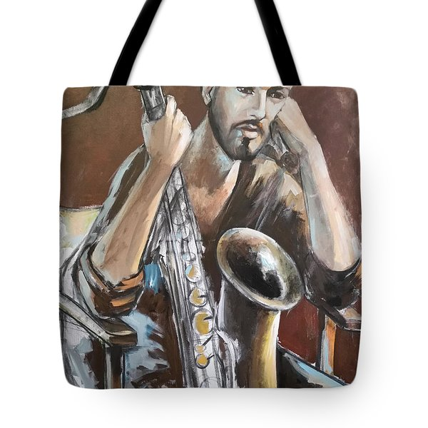 Jazz.saxophone Player Painting  Tote Bag