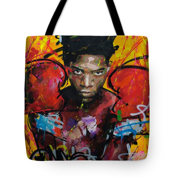 Tote Bag featuring the painting Jean-michel Basquiat by Richard Day