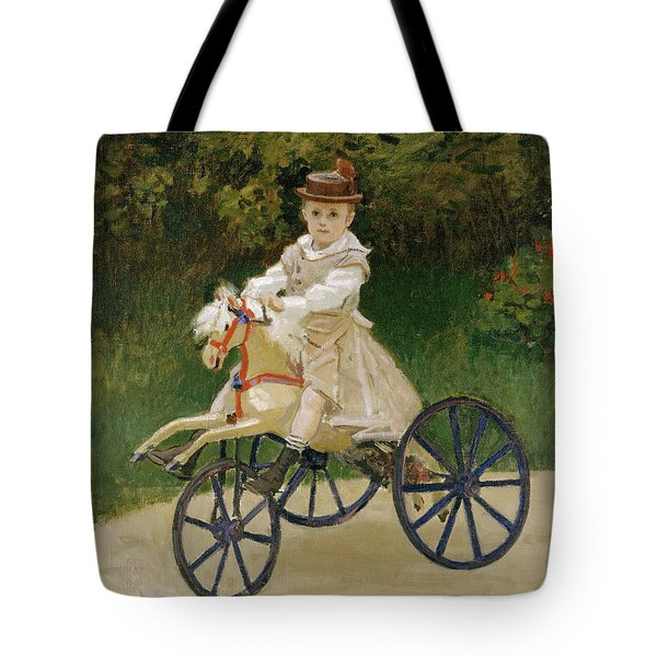 Tote Bag featuring the painting Jean Monet On His Hobby Horse           by Claude Monet