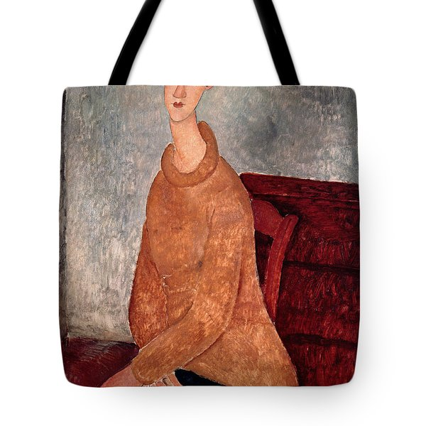 Jeanne Hebuterne In A Yellow Jumper Tote Bag by Amedeo Modigliani