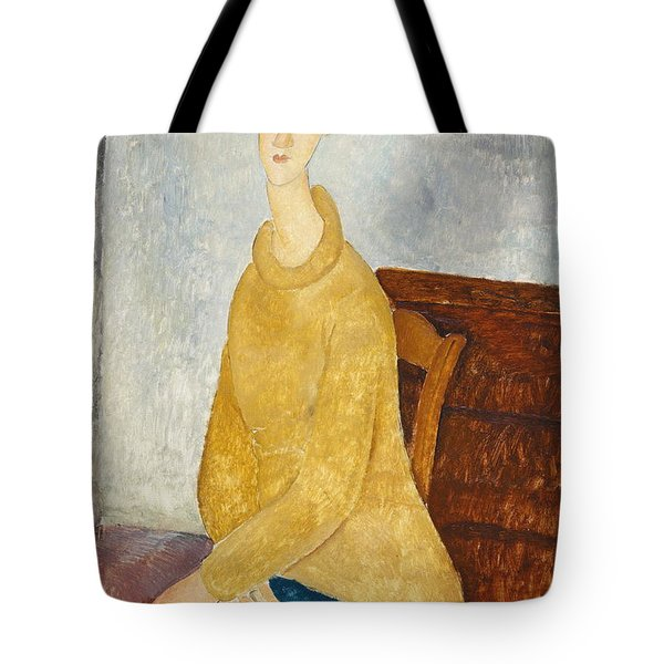 Jeanne Hebuterne With Yellow Sweater Le Sweater Jaune Tote Bag
